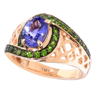 14k Rose Gold Oval Tanzanite and Chrome Diopside Cut-out Shank Ring