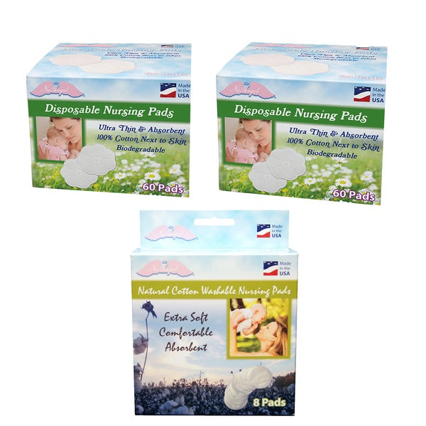 NuAngel All-natural Washable Disposable Cotton Nursing Pad Set