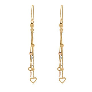 14k Gold Tri-tone Mirror Beads and Open Hearts Dangle Earrings