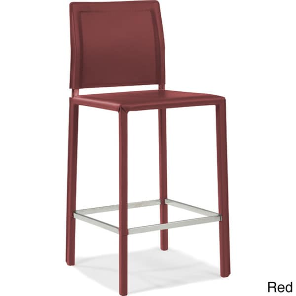 Aurelle Home Leather Counter Stool 16715285 Overstock