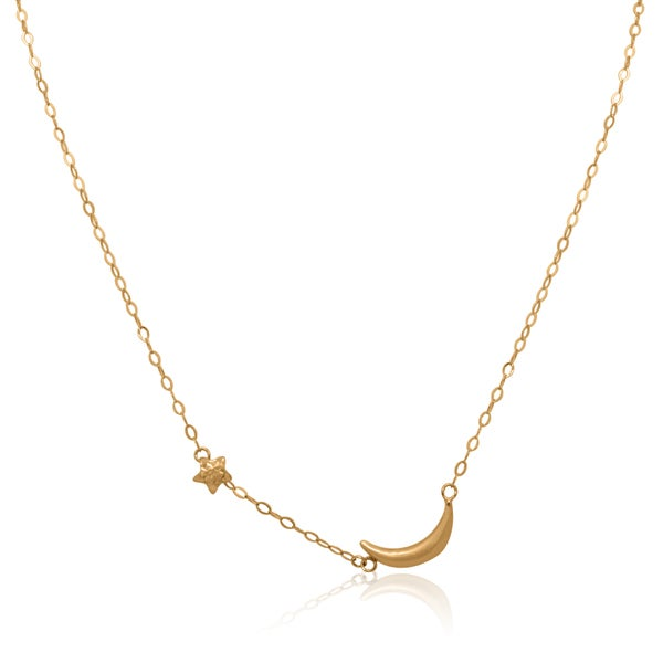 Gioelli 14k Yellow Gold Puff Star and Moon Adjustable Necklace