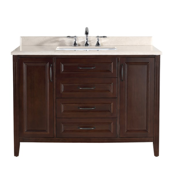 Ove Decors Daniel 48-inch Cocoa Vanity with Beige Granite Vanity Top