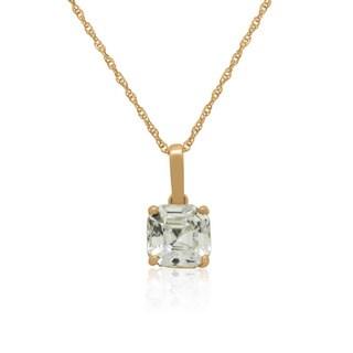 Gioelli 14k Gold 8mm Asscher-Cut cubic zirconia Pendant Necklace