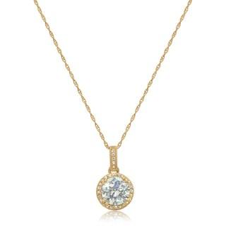 Gioelli 14k Gold 8mm Round-Cut Cubic Zirconia Designer Pendant Necklace