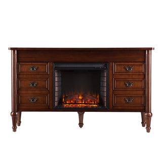Upton Home Lismore Whiskey Maple Electric Fireplace Console