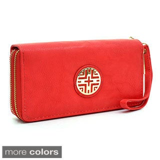 Dasein Emblem Embossed Double Zip-around Wallet with Removable Wrist Strap