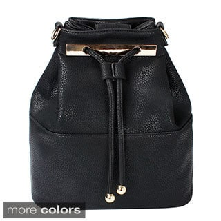 Dasein Faux Leather Convertible Drawstring Bucket Bag and Backpack