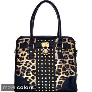 Goldtone Studded Leopard Padlock Satchel Handbag with Removable Shoulder Strap