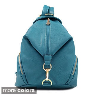 Dasein Fold-over Faux Zippered Backpack with Goldtone Clip