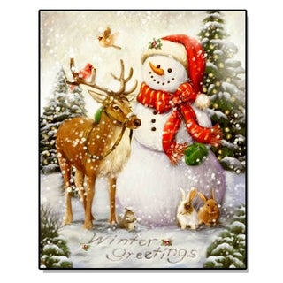 'Snowman with Friends' Lighted Canvas Artwork