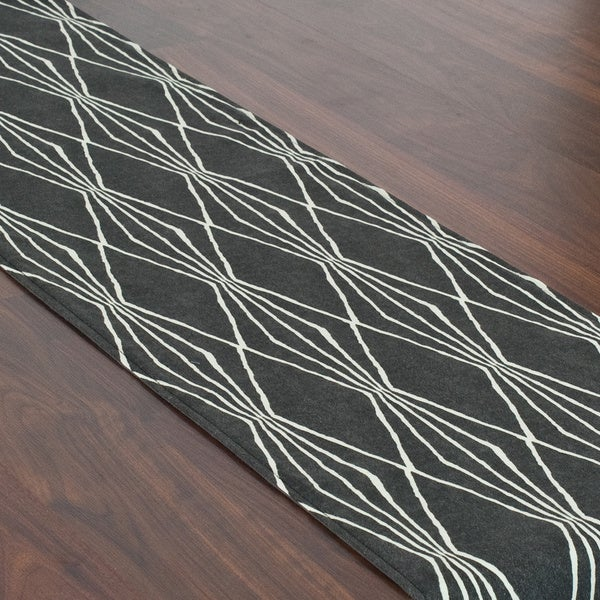 Handcut Shapes Charcoal Grey Lined Table Runner