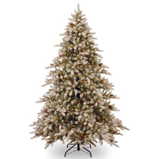 9-foot Snowy Concolor Fir Hinged Tree with Snowy Cones and 950 Ready-Lit Clear Lights