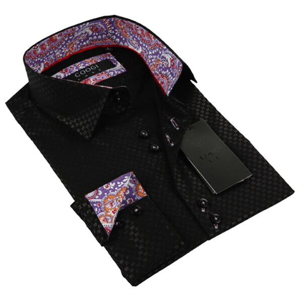 Coogi Luxe Men's Black/ Multi-colored Button Down Dress Shirt