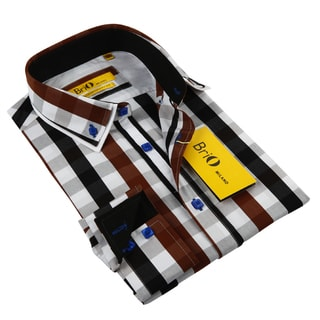 BriO MilanoBalmain Men's Brown/ Black/ White/ Blue Button Down Fashion Shirt