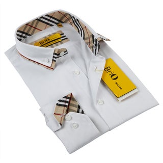 BriO MilanoBalmain Men's White/ Multi-colored Button Down Fashion Shirt