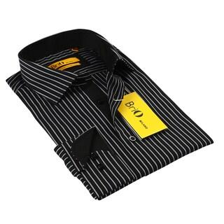BriO Milano Men's Black/ Grey Button Down Dress Shirt