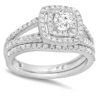 White Gold 1ct TDW Round Cut Diamond Bridal Split Shank Halo Engagement Ring
