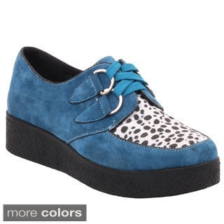 Wanted Women's Faux Suede Two Tone Lace Up Oxford