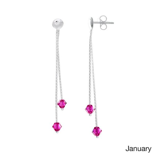 Sterling Essentials Silver Crystal Birthstone Drop Earrings