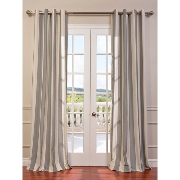 Bermuda Grey Veranda Linen Blend Stripe Curtain