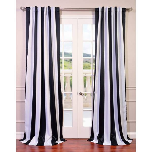 Awning Black/ White Stripe Blackout Curtain Panel