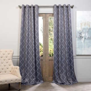 EFF Seville Damask Tan Blackout Grommet Curtain Panel