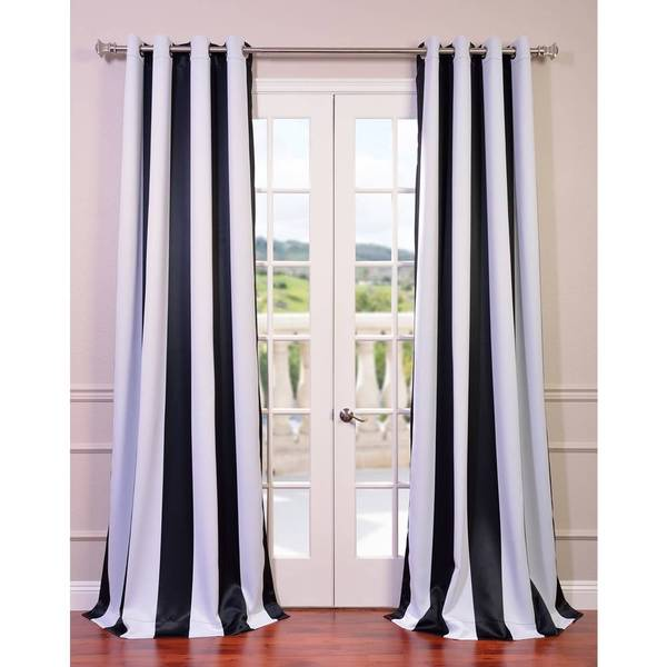 Eff Awning Black White Stripe Grommet Blackout Curtain Panel