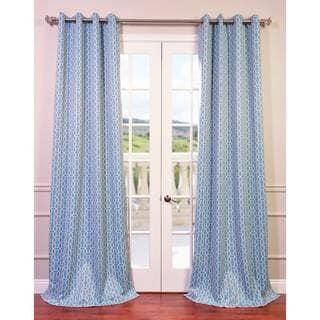 EFF Fret Sky Blue/ White Blackout Grommet Curtain Panel