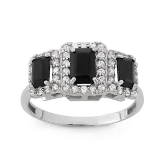 Gioelli Sterling Silver Onyx And Created White Sapphire Emerald Cut Ring