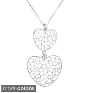 Gioelli Sterling Silver Italian Abstract Heart Pendant Necklace