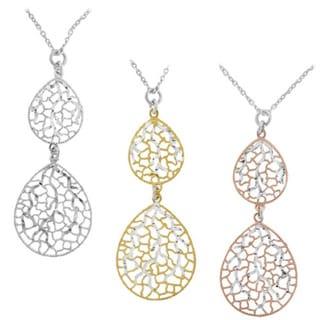 Gioelli Sterling Silver Italian Teardrop Pendant Necklace