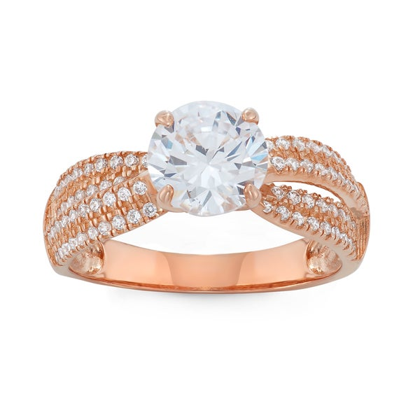 Gioelli 10k Rose Gold Round Cubic Zirconia Stylish Designer Ring