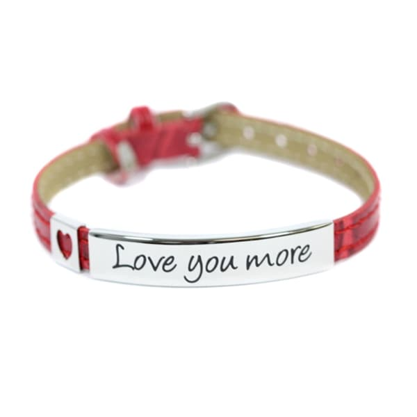 Love You More Red Faux Leather Bracelet