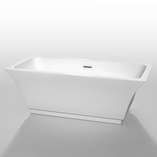 Wyndham Collection Galina 67-inch Soaking Bathtub in White with Polished Chrome Trim
