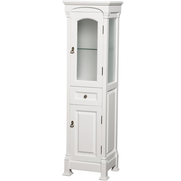 Wyndham collection andover 65 inch solid oak bathroom linen tower with cabinet storage in white for Oak linen cabinet for bathrooms