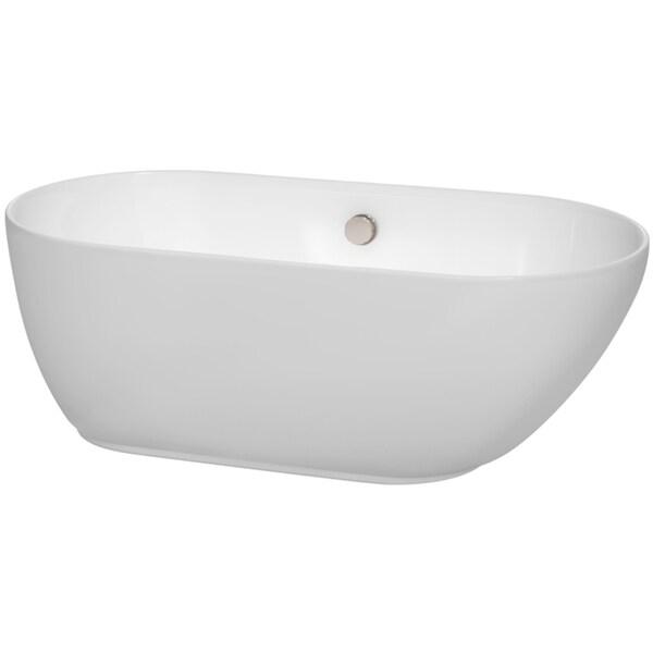 Wyndham Collection Melissa 60 Inch Freestanding Soaking Bathtub In White 16