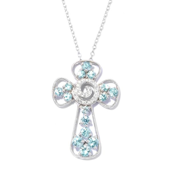 Rhodium-plated Sterling Silver Cubic Zirconia Cross Pendant