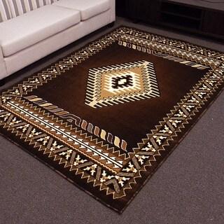 DonnieAnn Kingdom Design in Brown Southwestern Pattern 5'x7' Area Rug