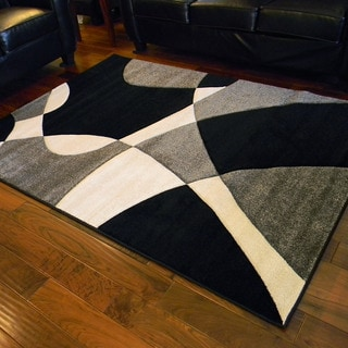 Hollywood Abstract Wave Design Black Rug (5' x 7')