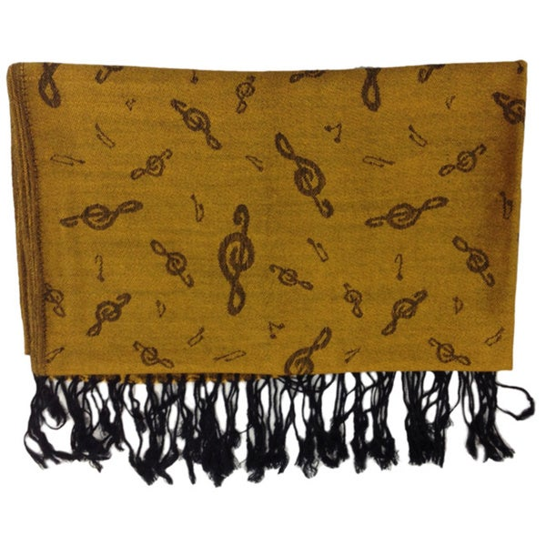Music Gifts Treble Clef Gold Pashmina Scarf