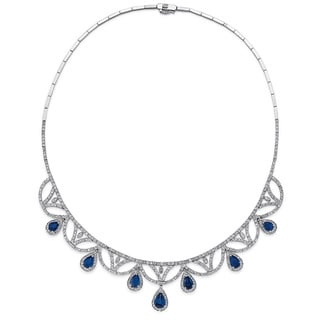 14k White Gold Sapphire and 4 5/8ct TDW Diamond Necklace (G-H, SI1-SI2)