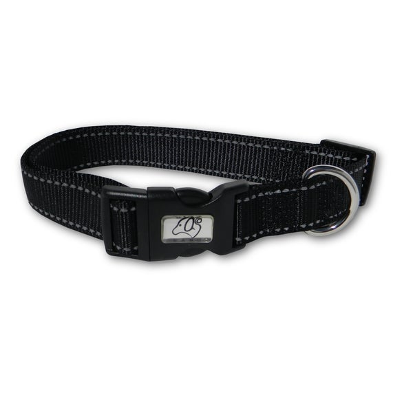 Laso 12-inch Reflective Stitching Nylon Dog Collar