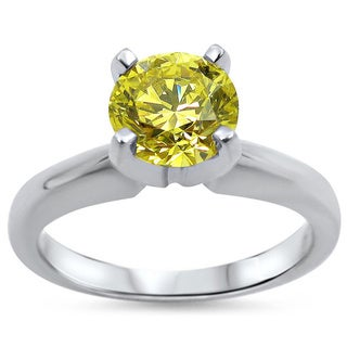 Noori 14k White Gold 3/4ct Round Yellow Canary Diamond Solitaire Engagement Ring
