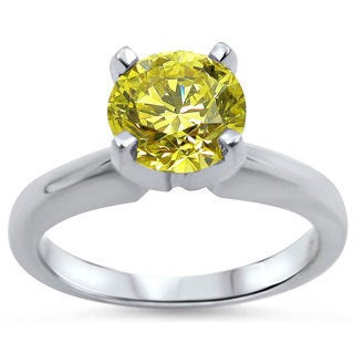 Noori 14k White Gold 1ct Round Yellow Canary Diamond Solitaire Engagement Ring (SI1-SI2)