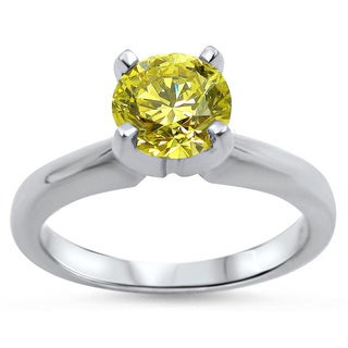 Noori 14k White Gold 1/2ct Round Yellow Canary Diamond Solitaire Engagement Ring