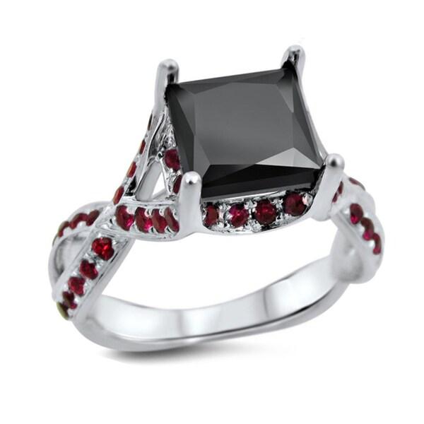 Noori 18k White Gold 2 1 2ct Black Diamond Ruby Engagement Ring