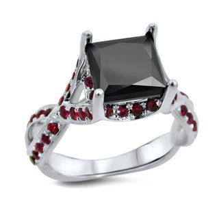 18k White Gold 2 1/2ct Black Diamond Ruby Engagement Ring