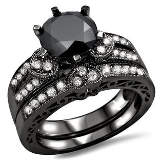 14k Black Gold 2 2/5ct Black and White Round Diamond Heart Bridal Ring Set (G-H, SI1-SI2)