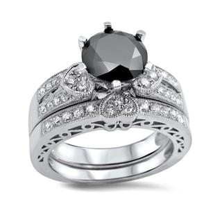 Noori 14k White Gold 2 2/5ct Black and White Round Diamond Heart Bridal Ring Set (G-H, SI1-SI2)