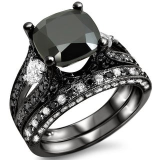 Noori 14k Black Gold 4 2/5ctw Black Cushion-cut Diamond Bridal Ring Set
